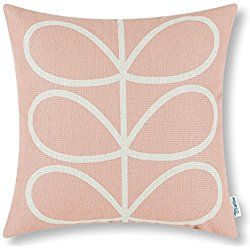 Euphoria CaliTime Cushion Cover Throw Pillow Shell Cute Stem Geometric Figures 18 X 18 Inches Coral Pink