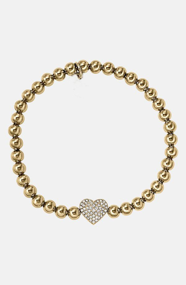 ab9c2386e2d8 Crystal Heart Bead Stretch Plated Gold Brand Bracelets
