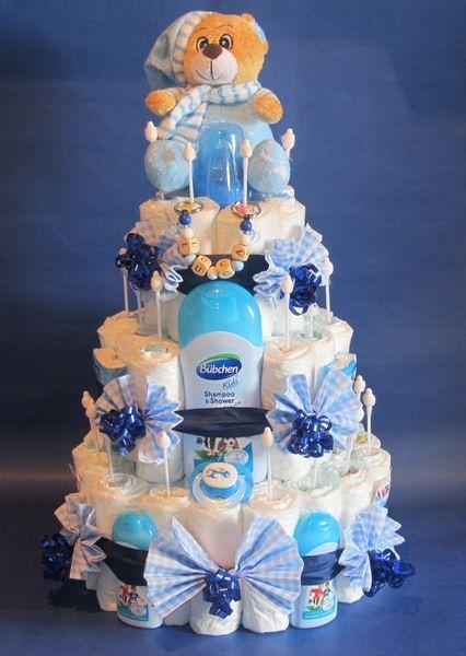 Windeltorten - ♦♦Schöne große Windeltorte + Namensanhänger blau♦♦ - ein Designerstück von Geschenketorten-Gebhardt bei DaWanda