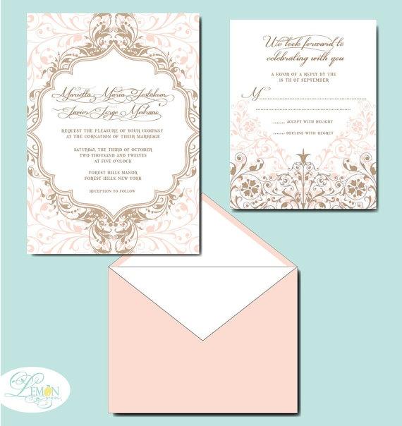 Victoria Wedding Invitation By LemonPressDesigns On Etsy 4000