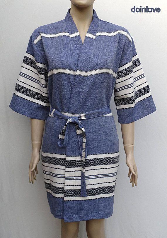 Navy blue colour soft cotton lightweight short kimono bathrobe ... 7441defc9