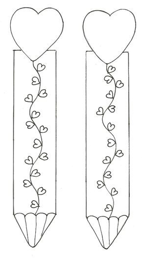 Valentines heart pencil themed bookmark