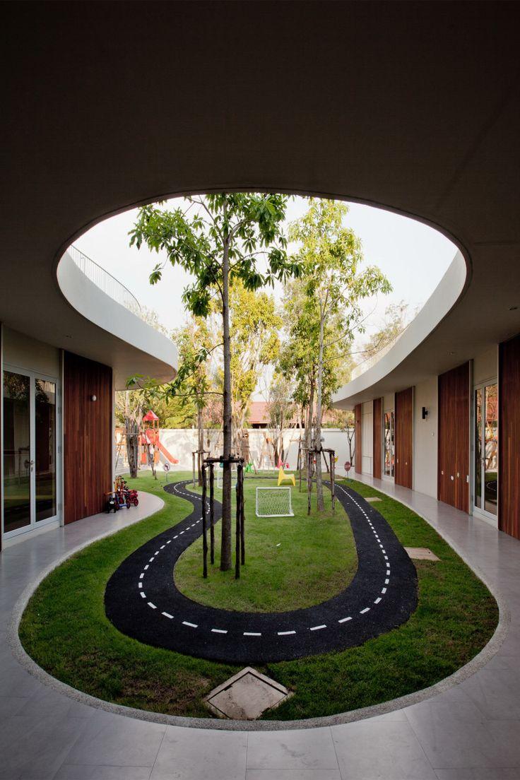 Amazing Fresh School Architecture Feels Peaceful with Small Garden: Indoor Garden Design In Luxurious International Kindergarten Plan