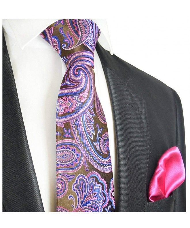 e3afa3f906b0 Brown and Pink Paisley 7-fold Silk Tie and Pocket Square - CG12ODL2JYF  #TieSets