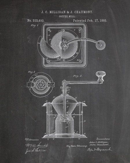 This is a print of an 1885 coffee grinder patent, presented as a vintage industrial or steampunk style drawing. Authentic historical patent prints celebrate industrial design and invention as art, and