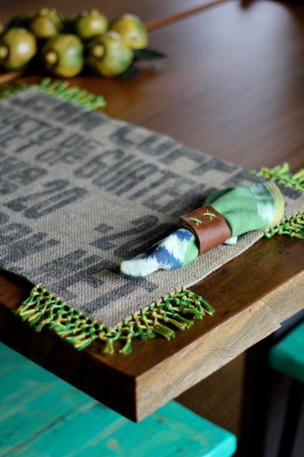 Placemat with sewn leather napkin by Lorenza Filati. Handmade in Guatemala