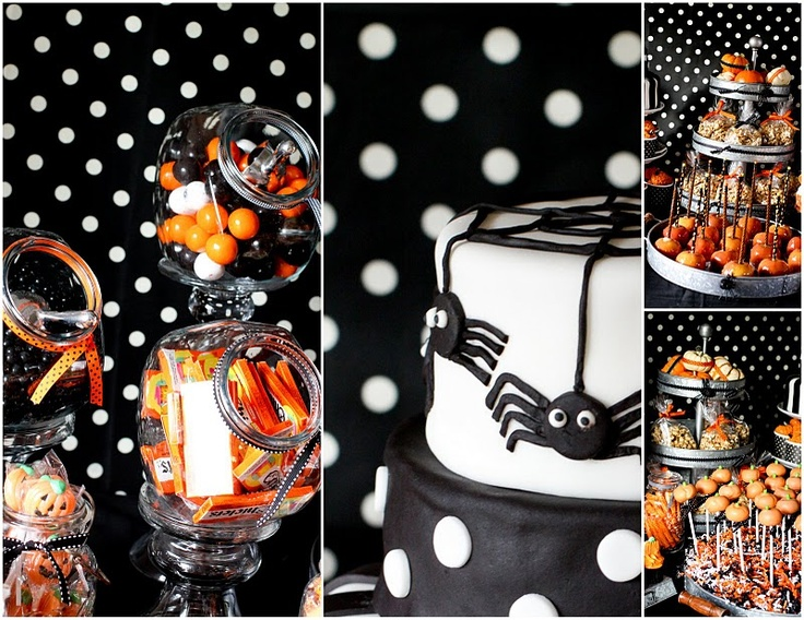 whimsical Halloween party things. adoring this polka dotted backdrop!