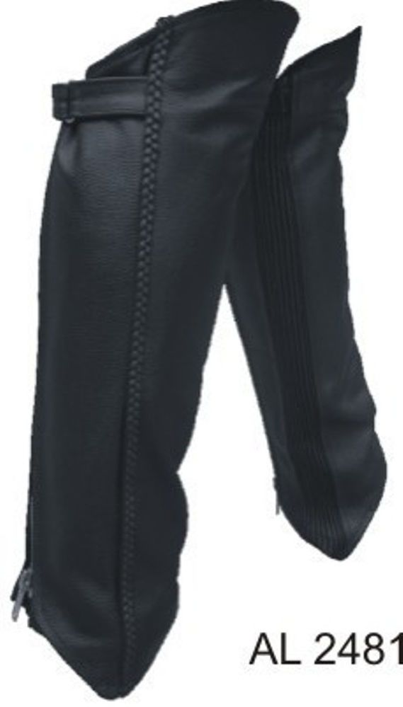 Motorcycle Riders Braided LeggingsHalf Chaps With Spandex Analine Cowhide