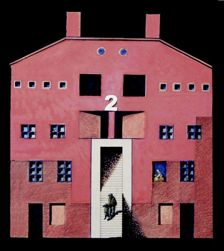 1989 ARENZANO 4 CASE._tela cm. 50 x 50__  by Brunetto De Batté