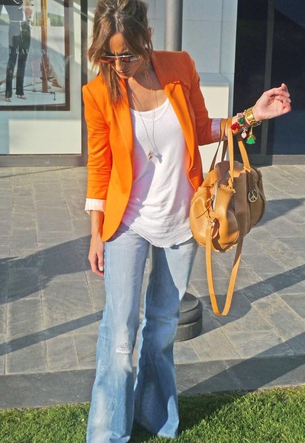 eyeball-melting, bright orange blazer + tee + wide legged denim = me