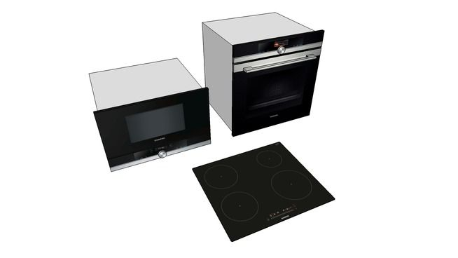 Large preview of 3D Model of Siemens Oven Microwave Cooker set