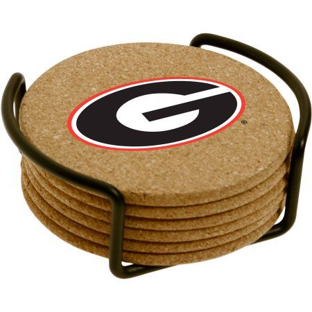 Set of Six Cork Coasters with Holder Included, University of Georgia, Multicolor