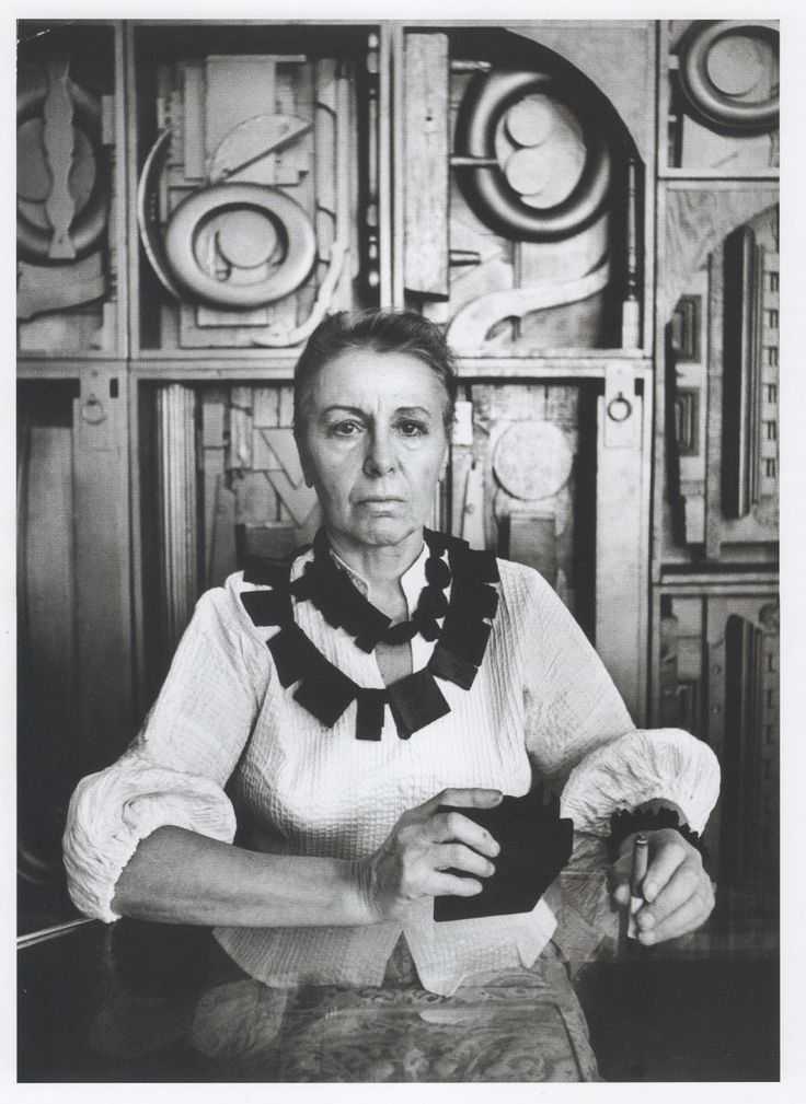 "Louise Nevelson (1899-1988) America's Most Innovative Sculptor.  Quoted as saying ""I think most artists create out of despair. The very nature of creation is not a performing glory on the outside, it's a painful, difficult search within."" —Louise Nevelson"