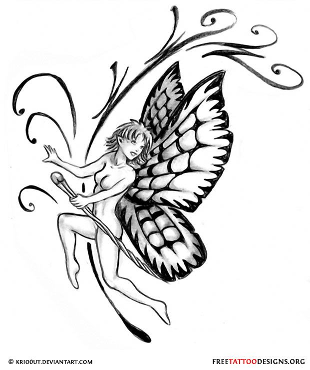 Fairy and tribals tattoo design