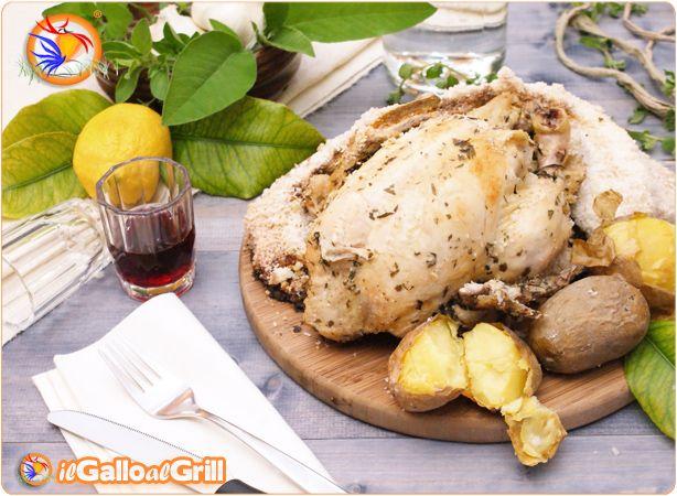 Pollo e patate in crosta di sale