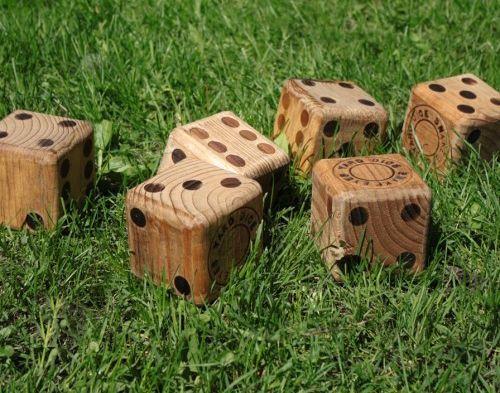 Wooden yard dice - play Yahtzee outdoors!  4x4 blocks - paint, finish, done! (sand edges like mad!)