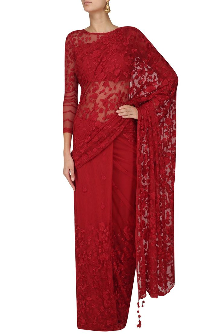 ASTHA NARANG - Red Floral Thread Embroidered Saree and Blouse Set #AsthaNarang #red #floral #thread #embroidered #saree #blouse #perniaspopupshop #perniaqureshi #indowestern #contemporary #indianstyle #indianfashion #indiandesigner #happyshopping