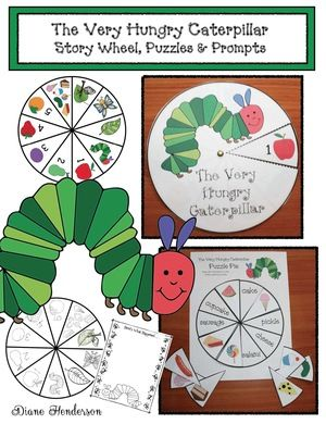 Very Hungry Caterpillar activities: Storytelling Wheel craft for The Very Hungry Caterpillar. Black & white for kiddos, color for a center. Also includes a puzzle & writing prompt.