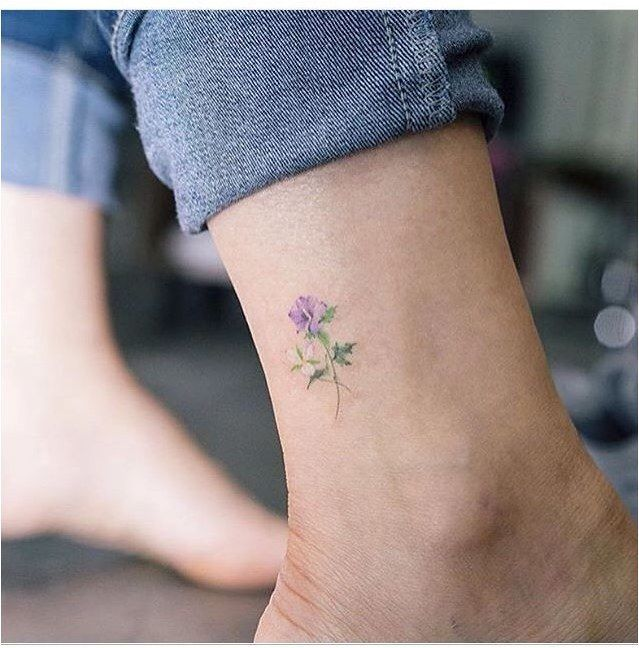 Tattoo Love How Tiny And Delicate This Is Smalltattoosco Small Flower Tattoo On The Ankle Minimalistic Watercolor Flower Ankle Tatto By South Korean Art Tattoos Violet Tattoo Flower Tattoo On Ankle