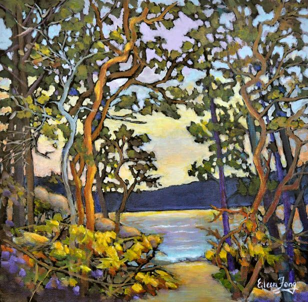 Arbutus Trees by the Shore 3 by Eileen Fong