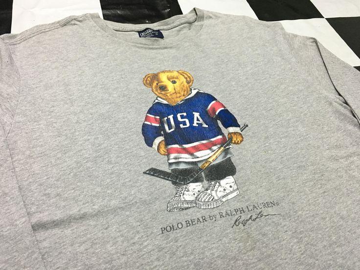 Vintage Polo ski bear long sleeve t shirt Polo ralph lauren bear long sleeve shirt by AlivevintageShop on Etsy