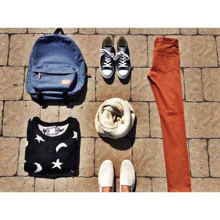 #OOTD Laine & foulard Element / Pantalon Billabong / Sac Vans / Soulier Converse | @elementeden @vans #converse