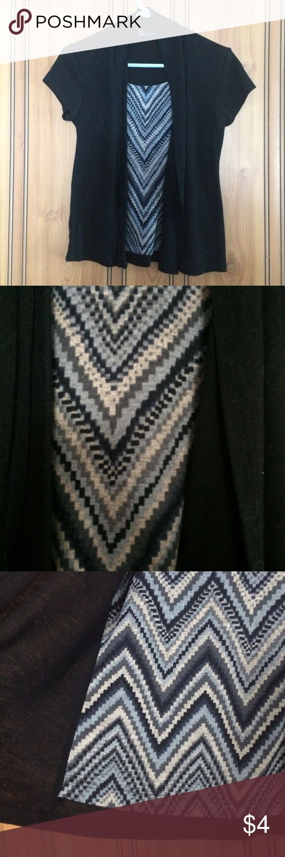 Chevron Top Black blue and tan colors. Dress top. Black cardigan attached. Size tag is cut off. Size XS. Tops