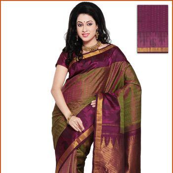 Green and Magenta Shot Tone Kanchipuram Pure Silk Saree with Blouse