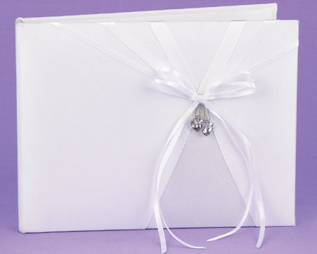 """White """"Heart's Desire"""" Guest Book with Dangling Crystal Hearts"""