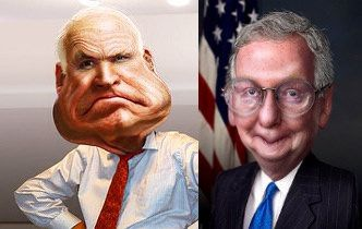 POTUS Shreds McCain & McConnell We have Mitch McConnell trying to tell the world, oh, don't have confidence in the U.S. government's abilities to fulfill any climate change pledge that we might make. And now we have a senator suggesting that our Secretary of State is purposely misinterpreting the deal and giving the Supreme Leader of Iran the benefit of the doubt in the interpretations.