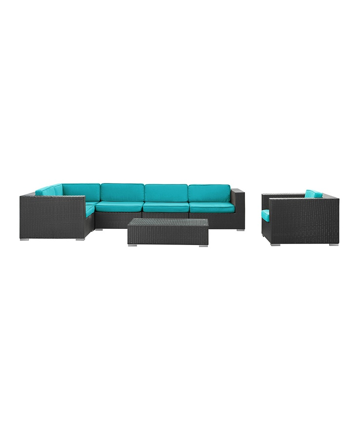 Best Espresso Turquoise Corona Sectional Sofa 7 Piece Set 400 x 300