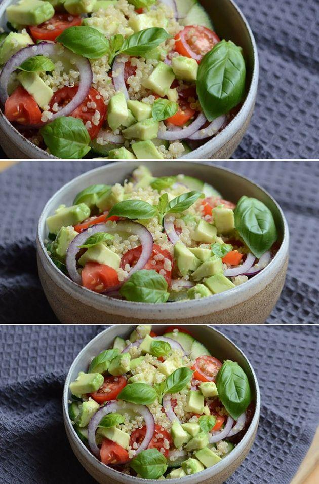 Suveræn quinoasalat med avocado, tomater og en mild skarphed fra rødløg. Perfekt både som tilbehør og hovedret.