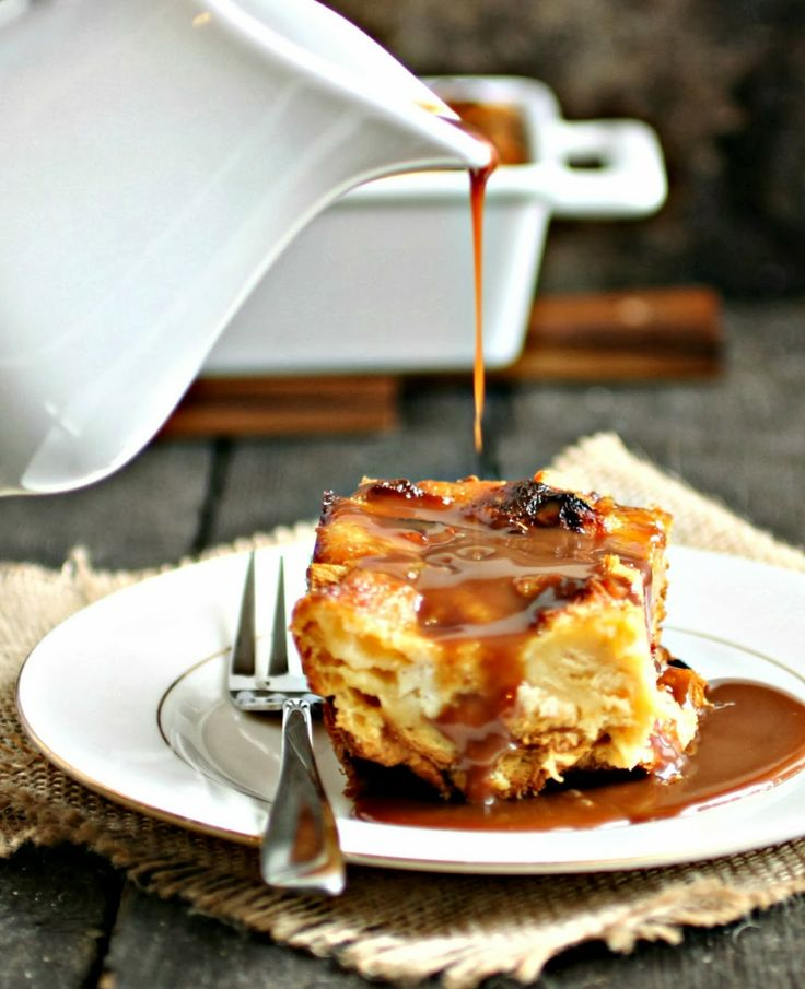 Cinnamon Bread Pudding with Salted Chocolate Rum Sauce from Hungry Couple