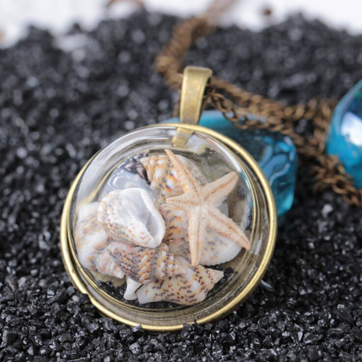 Praia Colar de Concha Conchas Estrela Do Mar Colar Longa Seção De Vidro Do Oceano Colar de Pingente de Moda Europeus e Americanos Estilo