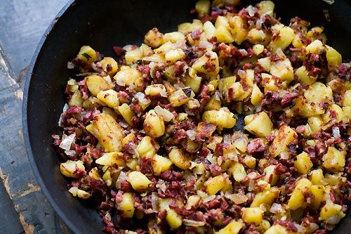 Corned Beef Hash by Simply Recipes. Believe it or not I did actually succeed in making this, and it was *delicious*! http://simplyrecipes.com/recipes/corned_beef_hash/