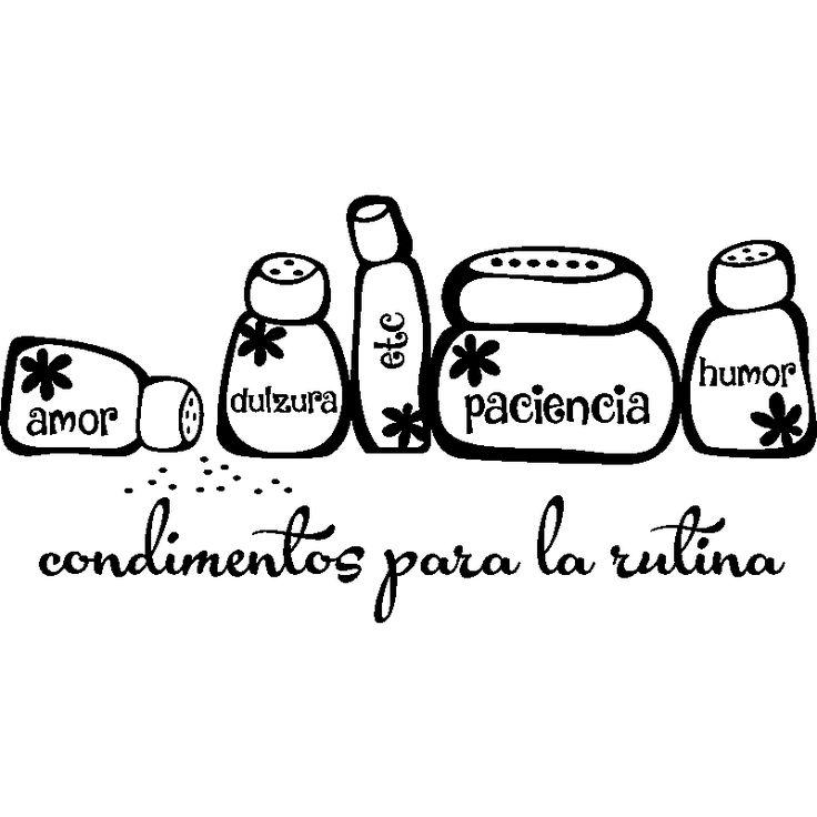 Vinilos decorativos para la cocina - Vinilo decorativo citación cocina Condimentos para la rutina - ambiance-sticker.com