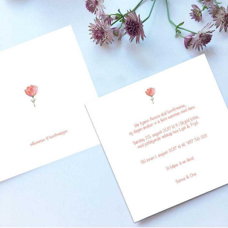 Invitasjon til konfirmasjon i design 'Mono blomst' // ELM DESIGNKOLLEKTIV 2017