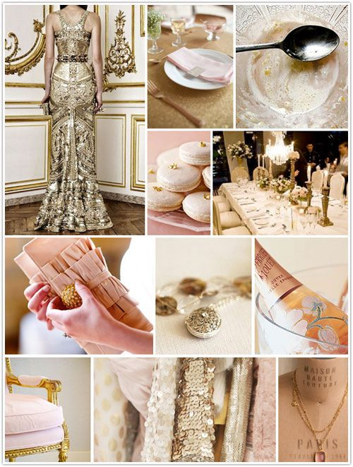 Champagne On Ice: Effervescent shades of gold and rosy blushHeart Of Gold, Champagne Parties, Inspiration Boards, Colors Palettes, Gold Inspiration, Bridal Shower, The Dresses, Gold Wedding, Pink And Gold
