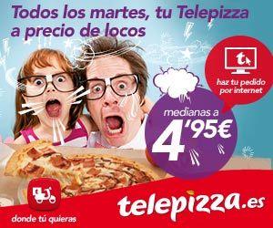 Martes loco telepizza mediana especialidad a 7,95€ en Telepizza. Www.cenabarato.com las mejores ofertas para cenar al mejor precio.
