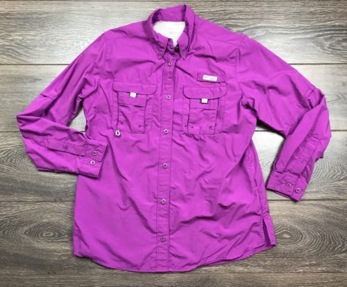 Columbia-Sportswear-PFG-Women-039-s-Medium-Fuschia-Buttoned-Vented-Longsleeve-Fi