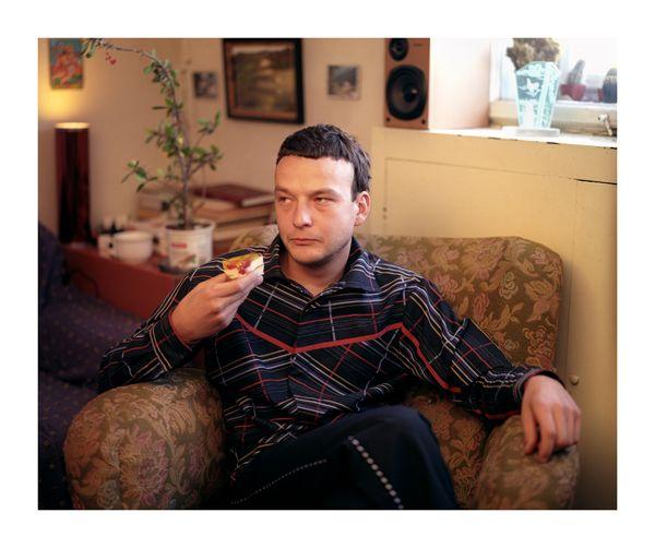 2005 photo: Jiří Thýn illustration: Maestrokatastrof, Czech fashion, menswear, striped shirt, black trousers, cake, red line
