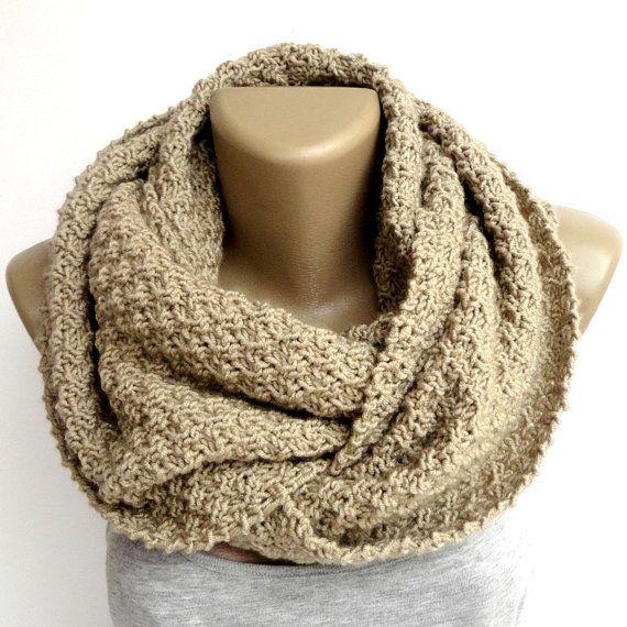 camel infinity scarf ,unisex men women - eternity scarves ,chunky - cowl #valentinesdaygift #handmade