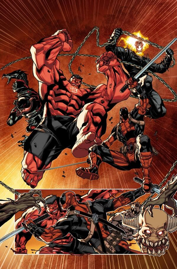 Marvel Red Hulk and Ghost Rider i don't really enjoy red hulk all that much