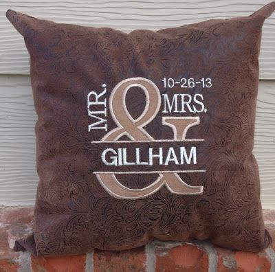 Pillow Embroidery Ideas Machine Wedding S Gifts Pillows Reception
