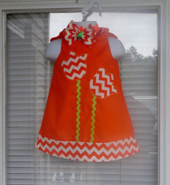 Girl Orange Chevron Dress Size 369121824 Months 2T 3T 4T