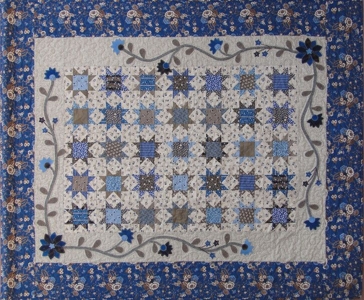 Nottingham stars: Quilts Patterns, Blue Moms Baby Quilts, Stars Quilts, Stars Patterns, Wool Applique, Addiction Quilts, Blueberries Crumbcak, Quilts Stars, Nottingham Stars