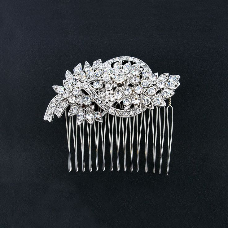 Bridal Hair Comb with Vintage Style - This elegant hair accessory inspires classic glitz and glamour.  Perfect for embellishing your wedding hairstyle.