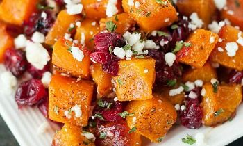 Honey Roasted Butternut Squash with Cranberries and Feta