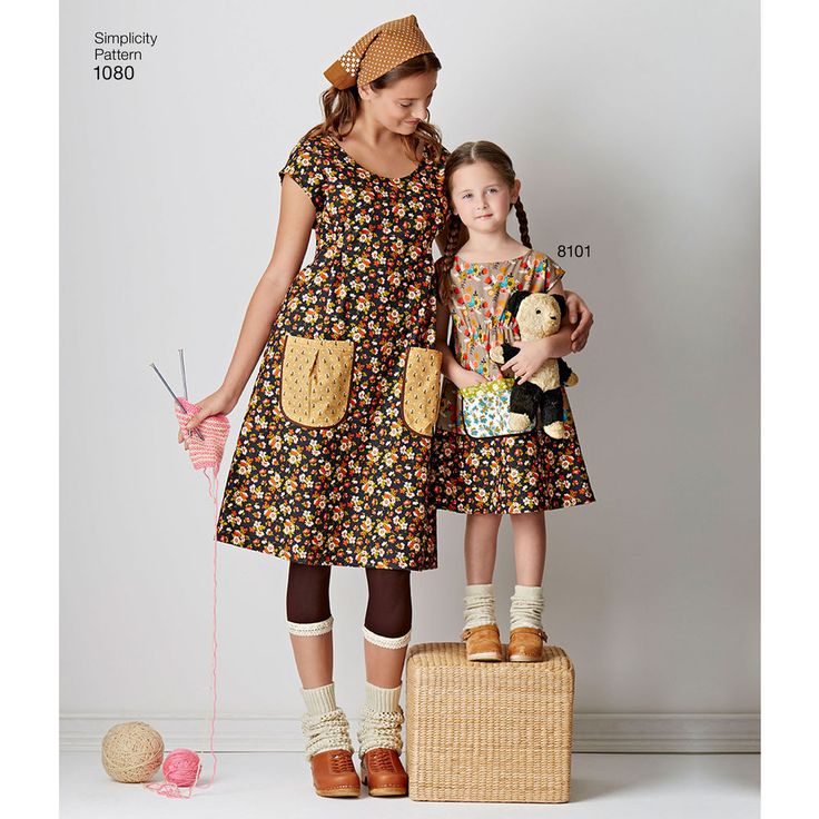 "play with pretty prints and patterns with these ""granny chic"" frocks for miss. pattern includes cap sleeve dress with optional contrast band, or tunic, all with large contrast patch pockets. dottie angel for simplicity."