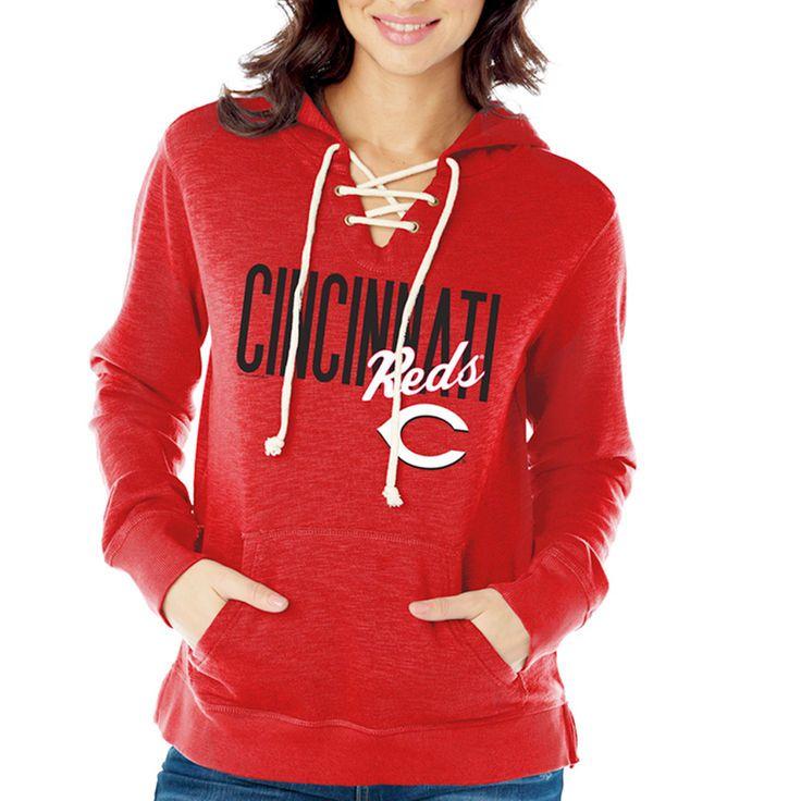 Cincinnati Reds Women's Slubbed Fleece with Lace Front Hoodie - Red - $44.99